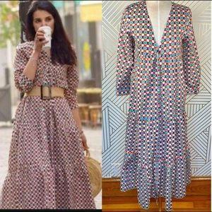 Zara geometric  print maxi dress